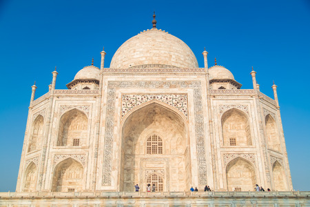 love dome: AGRA, INDIA - 28 FEBRUARY 2015: View of Taj Mahal from East side.