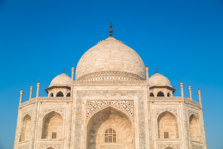 upper half: Close up view of Taj Mahal from East side. Upper half. Stock Photo