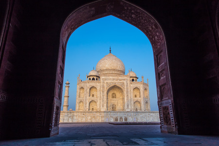 love dome: View of Taj Mahal from mosque. West side. Stock Photo