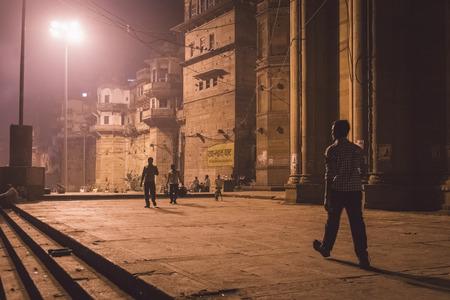 varanasi: VARANASI, INDIA - 20 FEBRUARY 2015: Night street scene on ghats in on Varanasi.