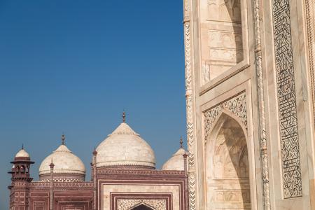 love dome: Detais of the Taj Mahal and mosque, Agra, India.