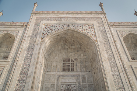 love dome: Close up view of Taj Mahal from East side. Post-processed with grain, texture and colour effect. Stock Photo