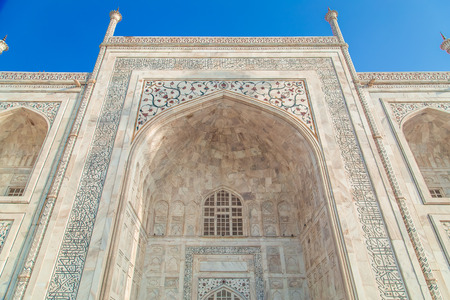 detailed view: Close up detailed view of South side of Taj Mahal.