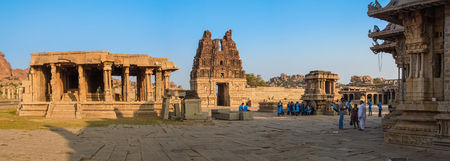 karnataka culture: HAMPI, INDIA - 30 JANUARY 2015: Ruins of Hampi are a UNESCO World Heritage Site. Achyutaraya Temple.
