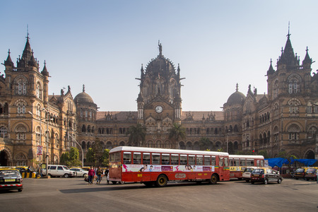 terminus: MUMBAI, INDIA - 17 JANUARY 2015: Chhatrapati Shivaji Terminus is a UNESCO World Heritage Site and historic railway station. It serves as headquarters of the Central Railways. Editorial