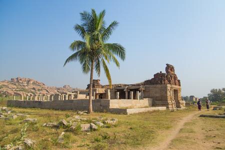 karnataka culture: HAMPI, INDIA - 30 JANUARY 2015: Ruins of Hampi are a UNESCO World Heritage Site. Editorial