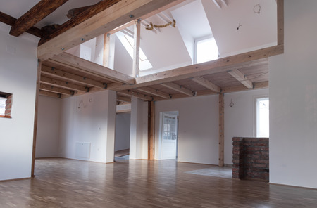 mezzanine: Interior of modern house with empty space