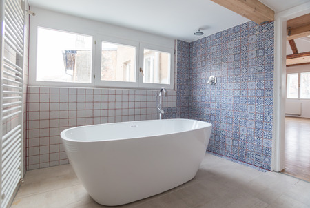 free standing: Interior of modern bathroom with free standing bath tub Stock Photo