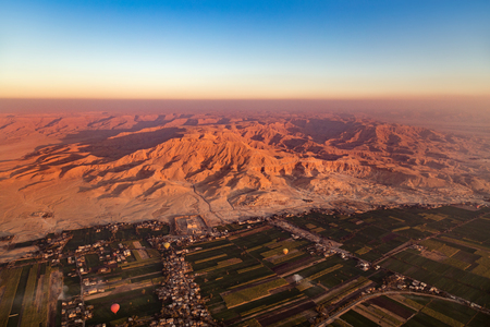 hill of the king: View from hot air balloon over the Valley of the Kings and Nile river. Stock Photo