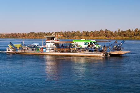 the nile: NILE, EGYPT - FEBRUARY 9, 2016: Car ferry over the nile.