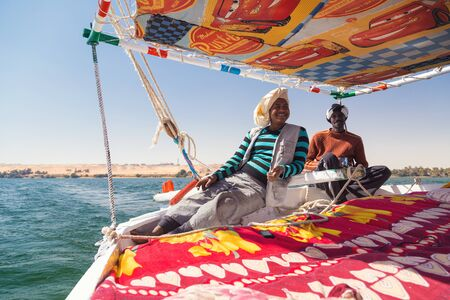 sailing crew: EGYPT -  FEBRUARY 8, 2016: Nubian felucca sailing crew on trip on the Nile. Editorial
