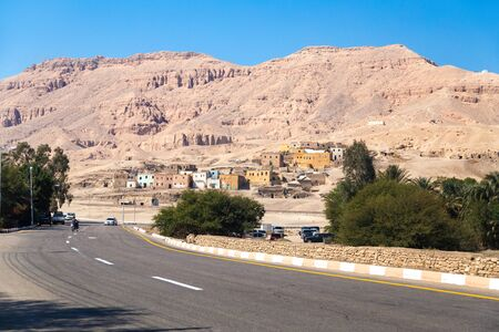 hill of the king: Road in Valley of the Kings (Egypt) with mountains in background. Editorial