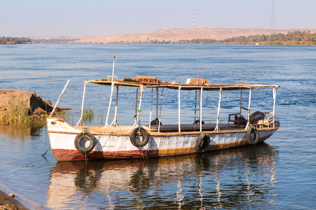the nile: Taxi boat ferry over the Nile, Egypt.