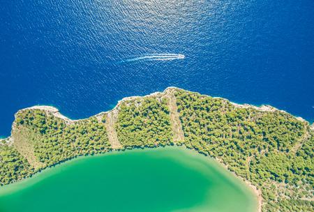 kornat: Aerial view of Lake Slano in National park Telascica in Croatia