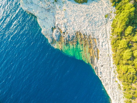 coastlines: Aerial view of rock pool area in National park Telascica and in Croatia Stock Photo
