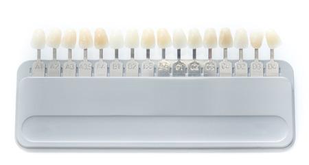 歯の色のマッチング パレットの分離のクローズ アップ