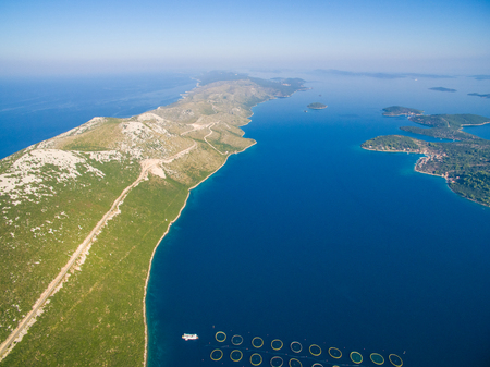 Aerial view of fish farming in Dugi Otok in Croatia Stock Photo