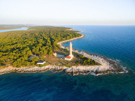 sea view: Lighthouse  in Veli Rat in Croatia Stock Photo