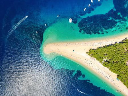 coastlines: Aerial view of Zlatni rat beach in Bol, Island Brac, Croatia Stock Photo