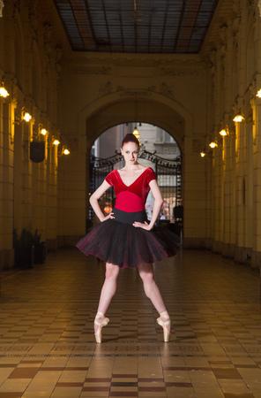 Ballerina Natalia Horsnell in a dance posture in the Oktogon public urban passageway in Zagreb, Croatia.