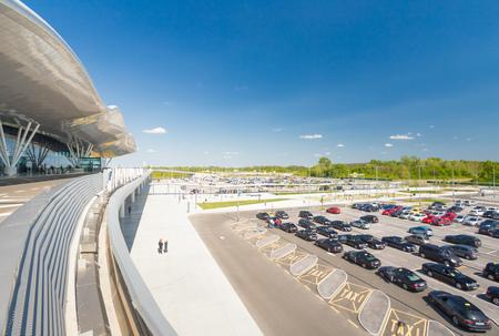 ZAGREB AIRPORT - 24 APRIL 2017: Exterior of arrivals terminal. Editorial