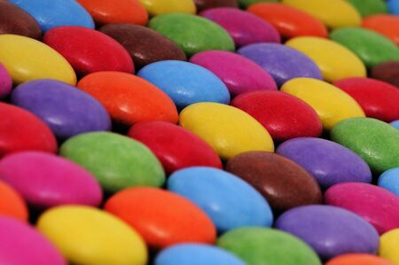 smarties: Close up of some Smarties chocolate coloured sweets