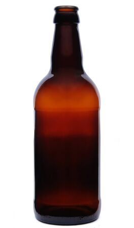 A Brown Glass Empty Beer Bottle on a White Background photo