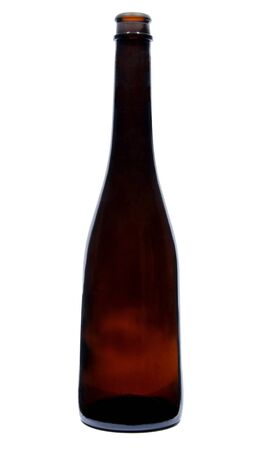 A Tall Brown Glass Empty Beer Bottle on a White Background photo