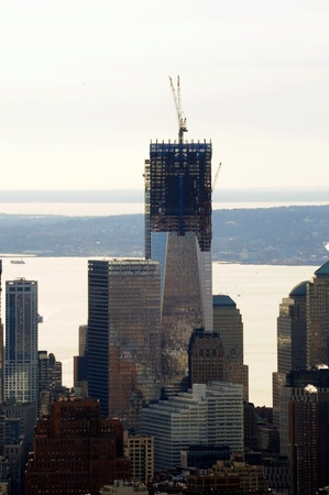 veiw: A Veiw of Manhattan, One World Trade Tower Under Construction on a Winters Day