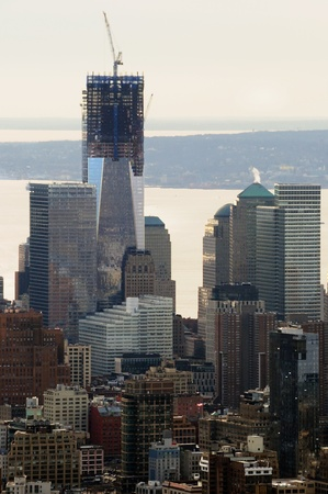 Downtown Manhattan including One World Trade Tower Under Construction Stock Photo - 12408277