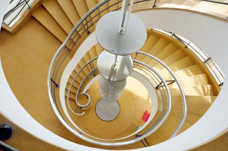 A view of the a 1930 spiral staircase at the De La Warr Pavilion in Bexhill on Sea. photo