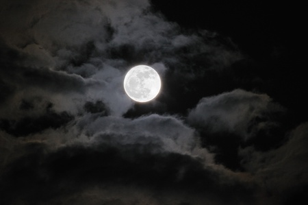 luna: The Full Moon with Clouds Stock Photo