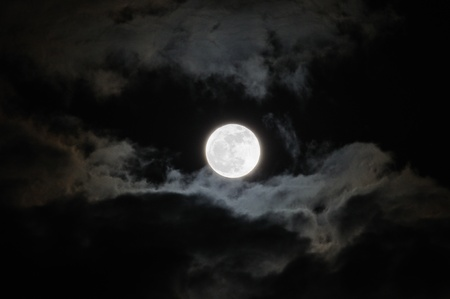 The Full Moon with Clouds Stock Photo