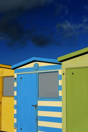 English Beach Huts on the Sussex South Caost Of England