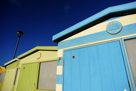 English Beach Huts on the Sussex South Caost Of England photo