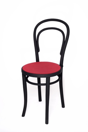Woodened frame chair with red seat