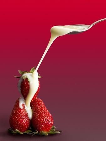strawberries with condensed milk diagonal jet photo