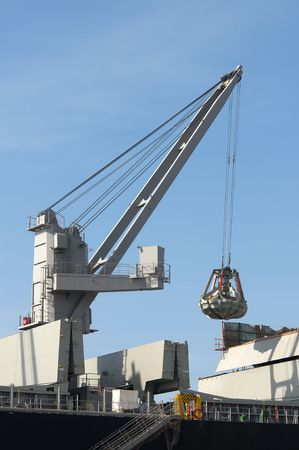dockside: Boat crane in loading and unloading operations