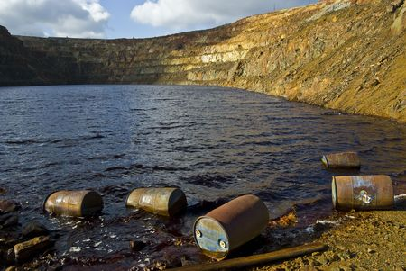 open pit mine with contaminated water Stock Photo - 5931575