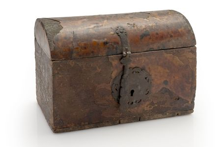 old lacquered chest with lock, slightly damaged  Stock Photo - 6251592