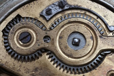 internal gear mechanism with an old pocket watch photo