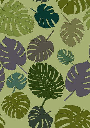 monstera pattern vector decorative tropical foliage textile Vector