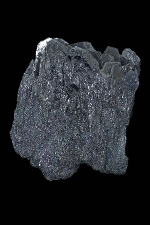 sic: Silicon carbide, also known as carborundum, is a compound of silicon and carbon with chemical formula SiC. Isolated in black background. Stock Photo