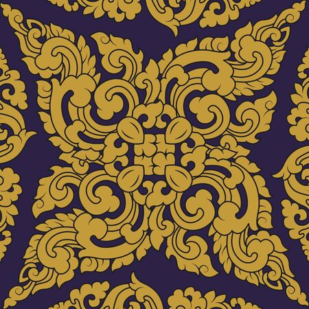 classicism: Seamless pattern baroque yellow with purple background