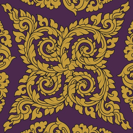 Seamless pattern baroque yellow with purple background Vector