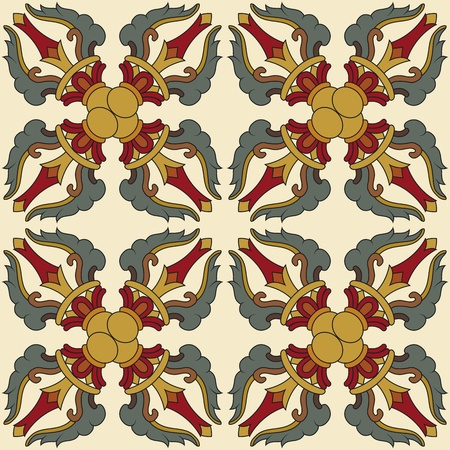 classicism: Seamless Vajra tibetan pattern multicolored with light yellow background Illustration