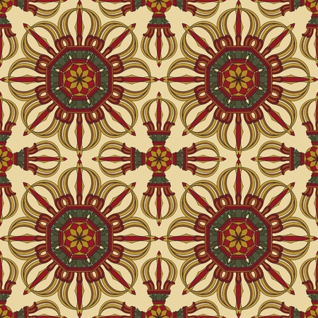 tibetan: Seamless Vajra tibetan pattern multicolored with light yellow background Illustration
