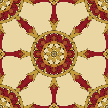 Seamless Vajra tibetan pattern multicolored with light yellow background Vector