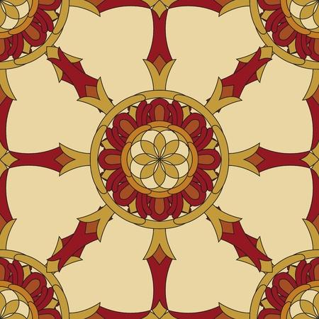 tibet: Seamless Vajra tibetan pattern multicolored with light yellow background Illustration