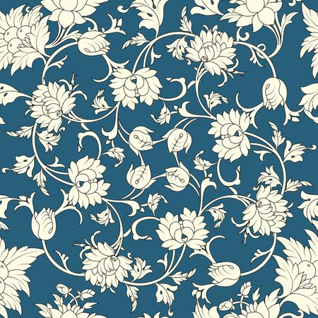 chinese scroll: Seamless pattern chinese and white elements in blue background Illustration